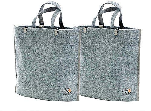 BIKEZAC® Clip-On EINKAUFS-FAHRRADTASCHE | Einseitige Einkaufstasche | Gepäckträgertasche | Faltbar | Wasserabweisend | Trageschlaufen | Ökologisch, BikeZac:Delux Gray 2 x