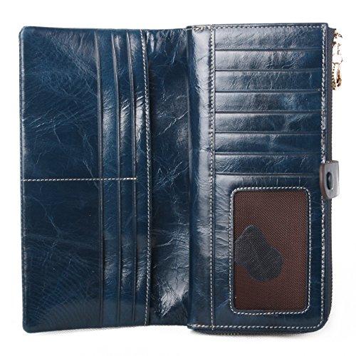 Yvonnelee Donne Della Signora Frizione Lungo Della Borse Borsa cuoio genuino Della Carta Portafoglio Leather Titolare Portamonete Blu