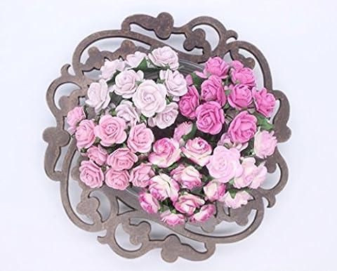 100 Pcs Mini Rose Mix Sweet Pink 10 mm Mulberry Paper Flowers Scrapbooking Wedding Decoration