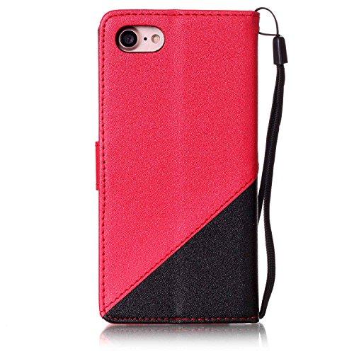 Qiaogle Telefon Case - PU Leder Wallet Schutzhülle Case für Apple iPhone 7 (4.7 Zoll) - YX34 / Schwarz + Dark Blau YX25 / Schwarz + Rote