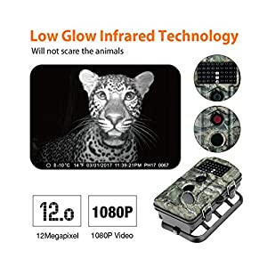 "ENKEEO Wildlife Trail Game Hunting Camera Infrared Night Vision Motion Activated Time Lapse 2.4"" LCD Screen 1080P 12MP 0.2s Trigger Time IP54 Water Resistant"