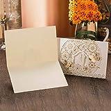 Squarex 10pcs délicat sculpté romantique fête de mariage Invitation carte enveloppe AS SHOW blanc