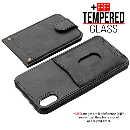 BisLinks®® Für iPhone 7 Plus iPhone 8 Plus Back Wallet Fall Cover Fitted PU Leder Classic Stil Magnetisch Flip Protection Shockproof - Black + 1 Free Temperiert Glas -