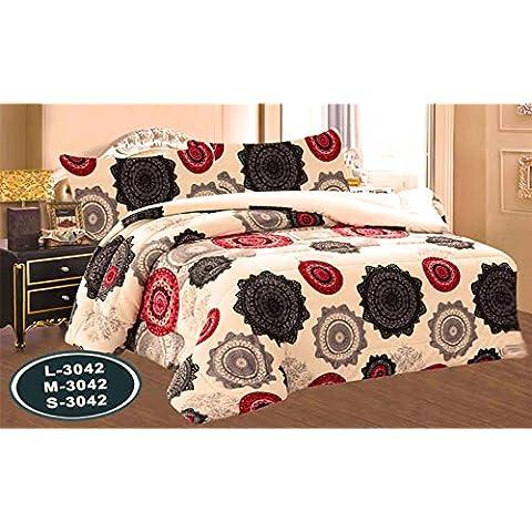 ForenTex - Edredón nórdico, (L-3042), cama de 150, 240 x 260 cm, Ultra suave, +2 cojines, triple de microseda, térmico, con borreguillo, Mandala Black