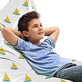 ABAKUHAUS Barca a vela Sedia per Custodia per Giocattoli, Design moderno Barche, Conservazione di Animali Imbalsamati ad alta Capacità, Seafoam e giallo