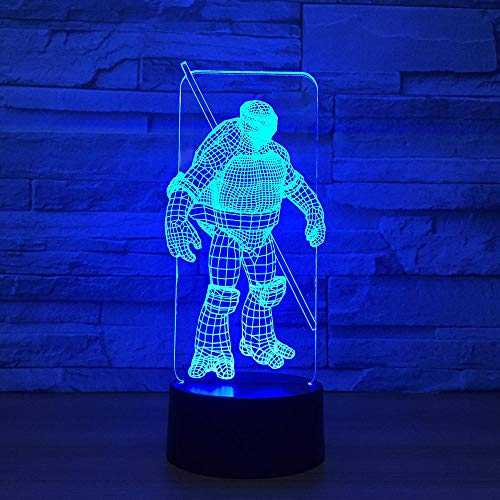 Yoppg 3D Nachtlicht Touch Switch LED7 Farbe Desktop Optische Täuschung Usb Oder Batteriebetriebene NinjaTurtles Fernbedienung
