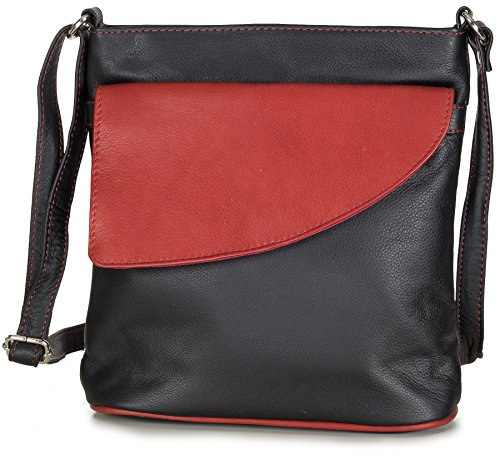 Taschenloft Umhängetasche Leder Blau Damen Lederhandtasche Schultertasche Handtasche klein (23 x 24 x 8 cm) Dunkelblau Schwarz / Rot