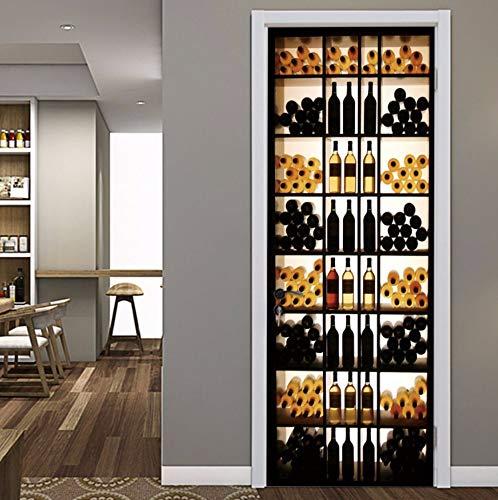 3D Retro Weinkühler Tür Aufkleber Für Schlafzimmer Wohnzimmer Tür Renovierung Wandmalereien Wasserdichte Dekoration Zubehör 80X200 Cm