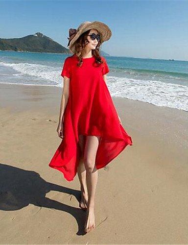 PU&PU Robe Aux femmes Mousseline de Soie Street Chic,Couleur Pleine Col Arrondi Au dessus du genou Polyester RED-L