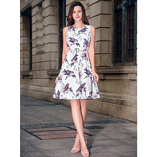 Abito da donna Vintage 1950 Floral limone Cocktail Party Spring Garden vestito floreale Bird-Bianco