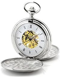 Infinite U Alta calidad Escudo Hueco Esqueleto Acero Doble tapas Reloj de bolsillo Mecánico Plateado