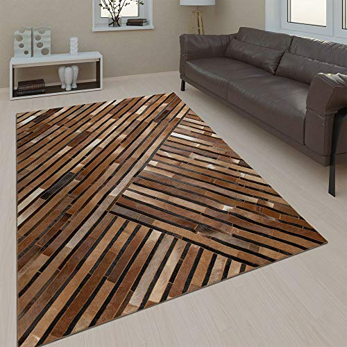 Paco Home Salon Tapis Cuir Laine Moderne Motif Rayures Brun Gris Noir, Dimension:80x150 cm