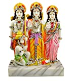 Indian Hand Carved Ram Sita and Laxman Resin Idol Sculpture Statue Top Quality Marble Polish 8.8 Inches with Zircons