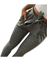 Pantalon Fuselé Ajusté à Carreaux Vichy avec Ceinture,Overdose Été Vintage  Grande Taille Femme Pantalons Cigarette Court Taille Haute… a2c98ba3f70e