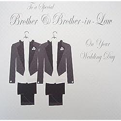 """White Cotton Cards Code PD209bro traje de diseño con texto en inglés """"to A Special Brother and Brother-in-Law en inglés"""" tarjeta de boda Gay hecho A mano"""