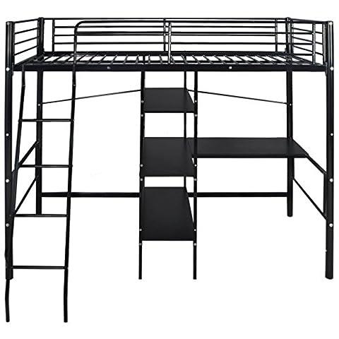 Festnight Metal High Sleeper Bed Frame Bunk Bed with Desk Single Black
