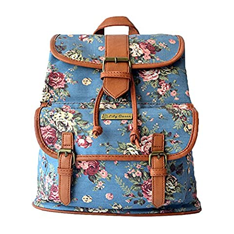 BYD - Femme Sacs portés dos School Bag Travel Bag Imprimés fleuris Vintage Design with Metal Brand Card and PU en Cuir Strap