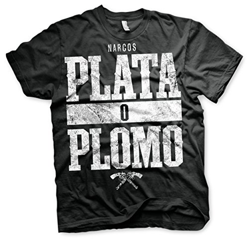 Officially Licensed Merchandise Narcos - Plata o Plomo T-Shirt (Black), XX-Large