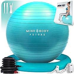 Pelota suiza o gym ball Mind Body Future. Robusto, antideslizante e hipoalergénico. Fitball 55 cm con base y bomba. Color turquesa