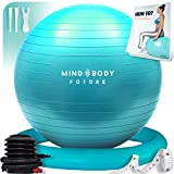 Ballon de Gym ou Swiss Ball de Mind Body Future. Gym Swiss Ball pour Pilates, Yoga, Grossesse, Fitness. Robuste, Antidérapant, Hypoallergénique - 55 cm. Livré avec Base et Pompe. Turquoise