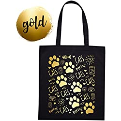 Bolsa Tote de Lona de Algodón orgánico negra con dibujo de gatos impreso dorado o plateado