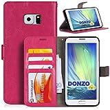 DONZO Tasche Handyhülle Cover Case für das Samsung Galaxy S6 Edge Plus in Pink Wallet Washed als Etui seitlich aufklappbar im Book-Style mit Kartenfach nutzbar als Geldbörse