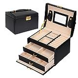 Coffret Boîte à bijoux Boîte Cosmétique à Trois Couches en Simili Cuir Boîte de Rangement de Stockage avec Miroir et Serrure, Cadeau Féminin