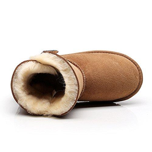 rismart Donna Inverno Caldo Pulsante Comfort Medio-Vitello Pelle Scamosciata Stivali da Neve Abbronzatura