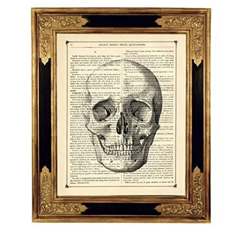 Totenkopf Totenschädel Gothic Druck Kunstdruck auf antiker Buchseite Geschenk Halloween Steampunk ungerahmt