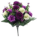 Bouquet grande di fiori artificiali, 41 cm, con mammole libertà/viola/panna, per matrimoni/tomba/casa
