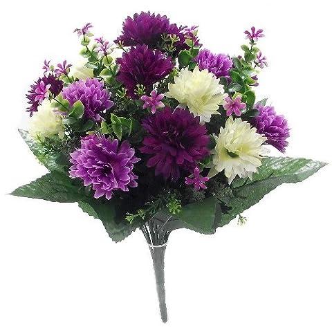 Bouquet de fleurs artificielles–Chrysanthèmes - 41cm Ivory, Lilac & Purple