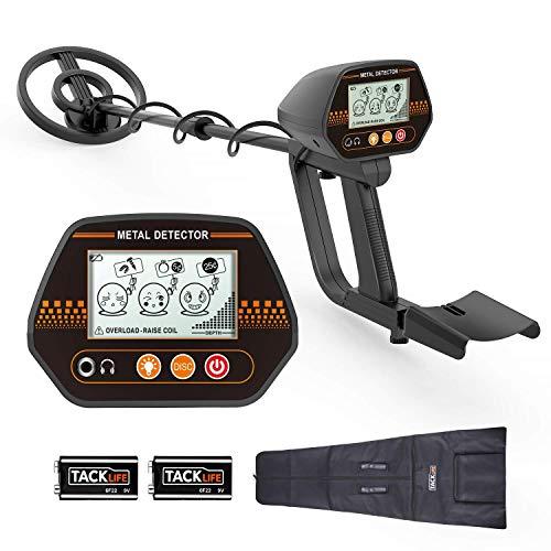 Metalldetektor TACKLIFE MMD02 Hochempfindliche Metallsuchgerät Wasserdichte Suchspule IP66 80-105cm Höhenverstellbare Sonde LCD-Bildschirm mit Hintergrundbeleuchtung Tragetasche 2x9V Batterien