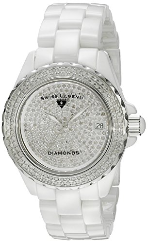 Swiss Legend Karamica/diamond Femme 40mm Blanc Céramique Bracelet Montre 20052-WWTS