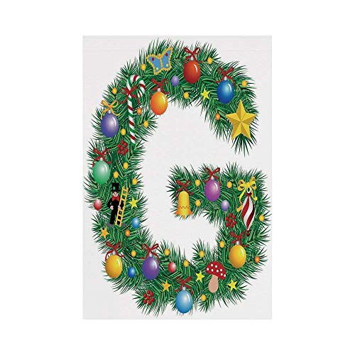Liumiang Eco-Friendly Manual Custom Garden Flag Demonstration Flag Game Flag,Letter G,Christmas Tree Style Letter G with Capital Style Vibrant Celebration Items Holiday,Multicolorarden d¨¦COR -