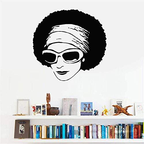wandaufkleber glück beginnt Afrikanische Schönheits-sexy Mädchen-Sonnenbrille-modernes Wohnzimmer