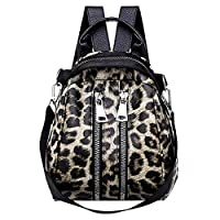 Womens Handbags, Girl Leather Leopard Print School Backpack Satchel Travel Shoulder Bag