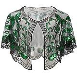 ArtiDeco 1920er Jahre Retro Schal Umschlagtücher für Abendkleider Stola für Hochzeit Party Gatsby Kostüm Accessoires (Grün)