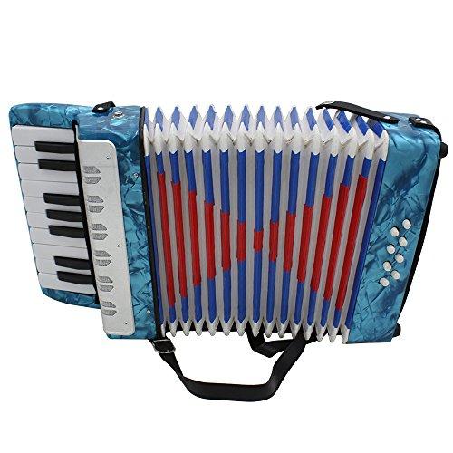 Ammoon Mini kleines Akkordeon 17-key 8Bass Musikinstrument Bildung Spielzeug für Kinder Anfänger Amateur-Kinder Weihnachtsgeschenk blau