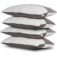 Wakefit Hollow Fibre Pillow (White and Grey, 68.58 cm X 40.64 cm) - 4 Pieces