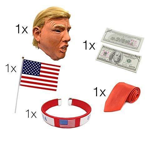 Donald Trump Set - Fasching Karneval Maske Poltiker, Perücke aus Latex, Krawatte rot, amerikanische USA Flagge, Dollar Scheine, Armband für Herren und Damen Kostüm (Flagge Herren-usa-amerikanische)