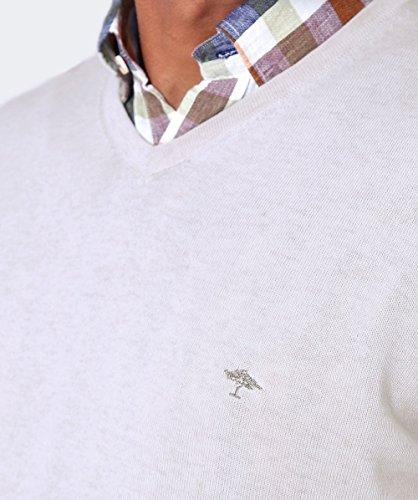 Fynch-Hatton Herren v-neck Baumwolle Pullover Ecru Ecru