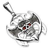 Tapsi´s Coolbodyart Unisex Edelstahl Halskettenanhänger Totenschädel mit roten Zirkonia Länge 47 mm Breite 30 mm für max. 5mm starke Ketten