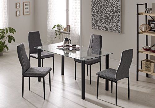 CAMBIA TUS MUEBLES- PACK MESA BASIC + PACK 4 SILLAS GREY