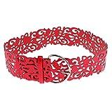 Damen Hohl PU Leder Breiter Taillengürtel Stretchgürtel Breite Hüftgürtel Metallband Blumenmuster - Rot, one size