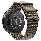 FINTIE Bracelet pour Garmin Forerunner 235/220 / 230/620 / 630 / 735XT Montre de Running GPS - Bande Sportive de Remplacement Ajustable en Nylon Tissé (Khaki)
