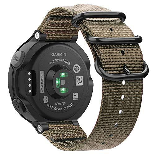 Fintie Armband für Garmin Forerunner 235/220 / 230/620 / 630 / 735XT Smart Watch - Nylon Uhrenarmband Sport Armband verstellbares Ersatzband mit Edelstahlschnallen (Khaki) -