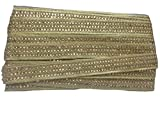 #8: 9mtr lace broder trim, 3 row golden stones on light copper cotton mix fabric