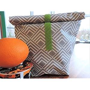 Brotzeitbeutel Lunchbag geometrisch grau weiß