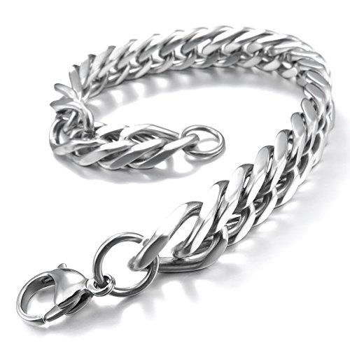 MunkiMix Edelstahl Armband Link Handgelenk Silber Ton Herren - 3