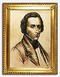 JVmoebel Frederik Chopin Portrait Echte Handarbeit Rahmen Öl Gemälde Bild Bilder G02785